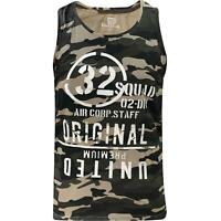 Mens Camo Printed Vest Sleeveless Army Tank Top Summer Training Gym Ribbed