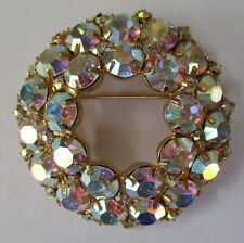 Vintage JULIANA (?) DOUBLE CIRCLE Aurora Borealis Brooch - white unsigned