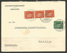 FINLAND. 1937. 3M 50p COVER TO GERMANY. HELSINKI UNIVERSITY LIBRARY.