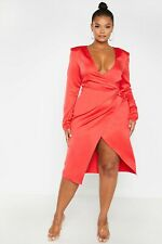 Pretty Little Thing Plus Red Drape Midi Wrap Dress Size 18 BNWT RRP £30 Party