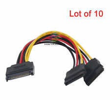 Lot of 10 15Pin SATA 1 Male to 2 Female SATA Power Splitter Y Cable Durable