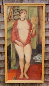 Large 1925 FREDERICK BUCHHOLZ Post-Impressionist Nude Woman Portrait Painting NR