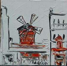 tableau original contemporain peinture Moulin Rouge white  PARIS