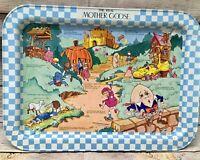 Vintage RARE Mother Goose Metal Lap TV Tray Breakfast Nursery Rhyme Kid Bed 1987