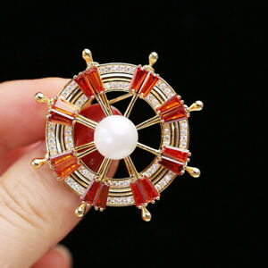 Rotatable Rudder High-grade Quality 2 Colours All CZ Pin Brooch Perfect Gift!