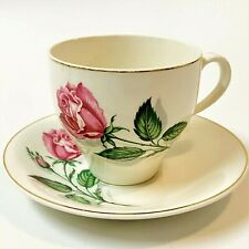 British Anchor Staffordshire Tea Cup & Saucer,  Pink Rose, Mid-Cent Vintage