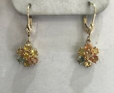 14k Solid Yellow Gold Dangle Leverback Earrings Natural Multi Color Sapphire2.60