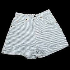Vintage 90s Levis Orange Tab Striped High Waisted Denim Cuffed Jean Shorts USA