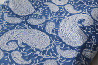 Indian Fabric Cotton Dress Paisley Sanganeri Hand Block Printed 2.5 Yard