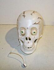 "Halloween 8"" Skull Skeleton Head with Sound Noise Sensor Lights & Sounds Moaning"
