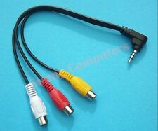 Angle Plug 3.5mm Male to 3RCA Female Audio Video Adapter Cable For HDTV Smart TV
