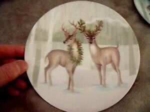 "NEW Set 4 Holiday DEER PLATES 6"" Melamine Appetizers Dessert Woodland Forest"