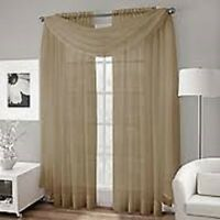 3pcs 1 scarf w/ 2 TAUPE Voile Window Panel  Brand New curtains