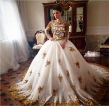 New White/Gold Wedding dress Bridal Gown custom size 6-8-10-12-14-16 18++++