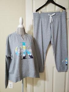 NWT $119 Calvin Klein 2 Pc Logo Terry Jogger Suit  Pearl Grey Heather Sz.XXL