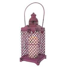 Stunning Rustic Vibrant Purple Open Metal Lantern Candle Holder