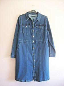 M&S Sz 14 Indigo Blue Stretch Denim Long Sleeve Knee Length Jean Shirt Dress NEW