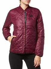 Nike Women Size S Primaloft Quilted Snap Button Bomber Jacket 854747-609 Wine