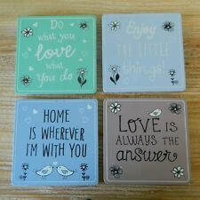 Set of  Four Coasters Shabby Kitchen Dining Vintage Chic Accessory Living Room