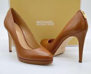 New $150 Michael Kors Antoinette Pump Luggage Brown Leather Platform Heel sz 10