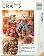 McCalls 7979 Stepping Out Bears Bunny Couples Plush Faye Wine Pattern VTG UNCUT