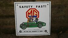 "1980s  MORRIS ""MG MAGNETTE""   ENAMEL Sign by  Garnier  ""SAFETY FAST"""