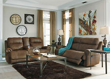 JEFFERS Modern Living Room Furniture Brown Microfiber Reclining Sofa Couch Set