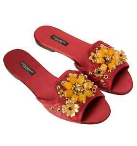 Dolce & Gabbana Crocodile Leather Crystal Sandals Bianca with Brooch Red 07789