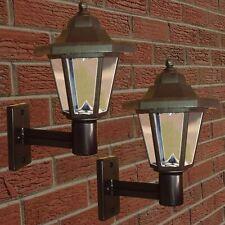 2 x Solar Powered LED Outdoor Garden Fence Wall Lantern Light Lamp New