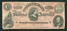 "T-65 1864 $100 One Hundred Csa Confederate States Of America ""Lucy Pickens� Vf+"