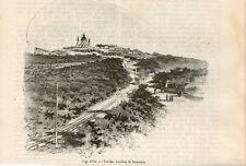 Stampa antica TORINO veduta collina di SUPERGA funicolare 1889 Old print