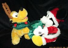"Mickey Mouse & Pluto with Antlers & wreath PLUSH DISNEY WORLD CHRISTMAS, 11""tall"