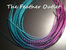 Lot 10 Grizzly Feathers Hair Extensions long thin striped Real Tie Dye PINK/BLUE