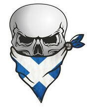 LARGE Skull With Face BANDANA & Scottish Saltire Scotland Flag car sticker decal
