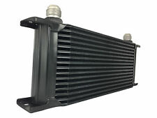Black 16 row universal front mount oil cooler - AN10 7/8 14 UNF