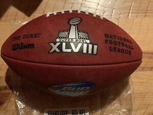 Super Bowl XLVIII 48 Seahawks Broncos Official Leather Football Wilson Bud Light