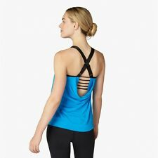 NWT S BEYOND YOGA Double Stacked Straps 2-Fer Cami Tank Top Drape Aquatic Blue