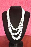 VINTAGE 1950's TRIPLE STRAND MILK GLASS BEAD NECKLACE -KNOTTED