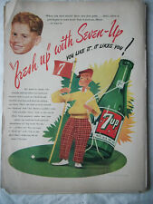 1943 VTG Original Magazine Ad 7 Up Soda Golf Missin' Those Two Foot Putts