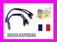 cable sono autoradio amplificateur ampli rca cable bleu femelle neuf
