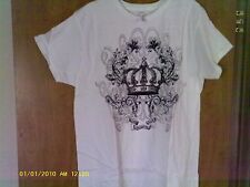 alstyle tee shirt size womens L. white with black & gold dots & crown and jewels
