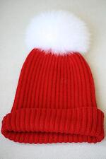 HARRODS CASHMERE FUR POMPOM RED BABY HAT