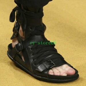 Men Genuine Leather High Top Boot Buckle Belt Knight Roma Gladiator Sandals 10.5
