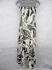 COAST Black & White Silk Maxi Dress Size 12, Wedding Guest Party Long Strapless