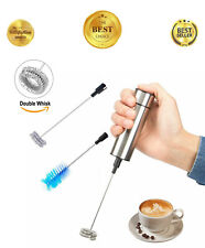 Deluxe Edition Milk Frother Double Whisk Head, Stainless Steel Foam Maker