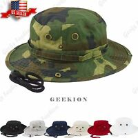100% Cotton Boonie Bucket Hat Military Fishing Hunting Wide Brim Men Outdoor
