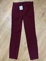 ZARA Woman Burgundy Wine Stretch Leggings/Trousers Back Ankle Zips Size S BNWT