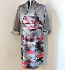 Gina Bacconi Dress with bolero jacket size 14 black, grey and red
