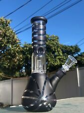 9'' Hookah Glass Water Pipe Bong Thick Bubbler W Percolator Beaker Black