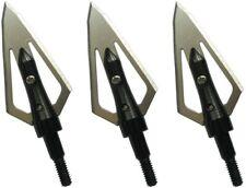 New listing 12 Pk Steel Hunting Arrow Archery 2 Fixed Blades Broadheads 100 Grain Black